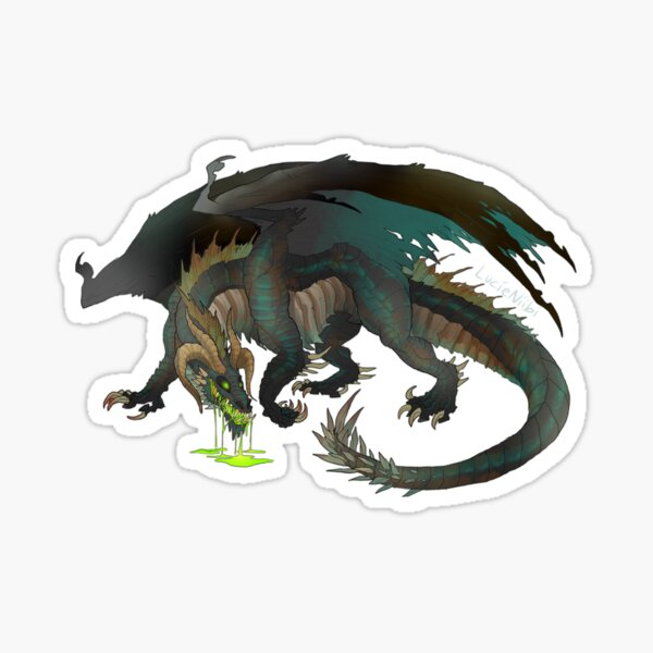 Malbetroch- DnD- Black/Copper Hybrid Dragon- Transparent Sticker