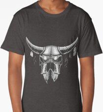 Big Black Bull Skull Long T-Shirt