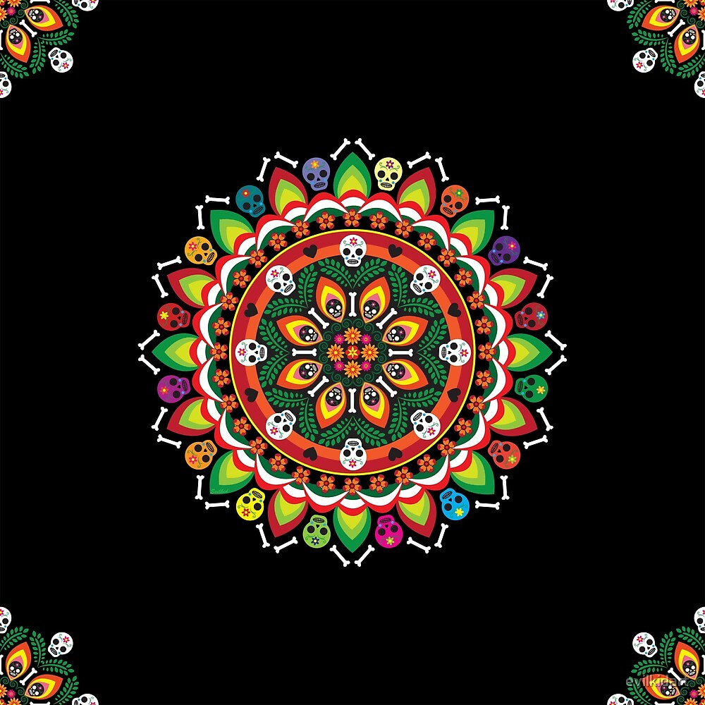 Dia De los Muertos Mandala by evilkidart