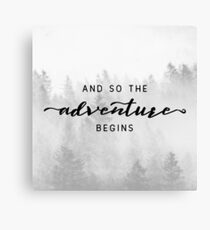 And So The Adventure Begins - Foggy Trees Forest Wall Decor Canvas Print