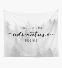 And So The Adventure Begins - Foggy Trees Forest Wall Decor Wall Tapestry