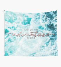 And So The Adventure Begins - Perfect Sea Waves Turquoise Rosegold Wall Tapestry