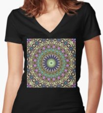 Ornate Kaleidoscope Symmetry Women's Fitted V-Neck T-Shirt