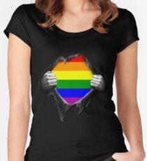 Premium Gay Pride Rainbow LGBT  Women's Fitted Scoop T-Shirt