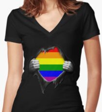 Premium Gay Pride Rainbow Shirt Women's Fitted V-Neck T-Shirt