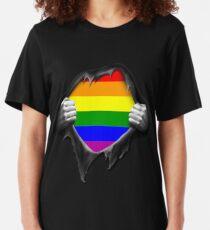 Premium Gay Pride Rainbow LGBT  Slim Fit T-Shirt