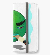 A mug, smoking a cigarette and blowing smoke. iPhone Wallet/Case/Skin