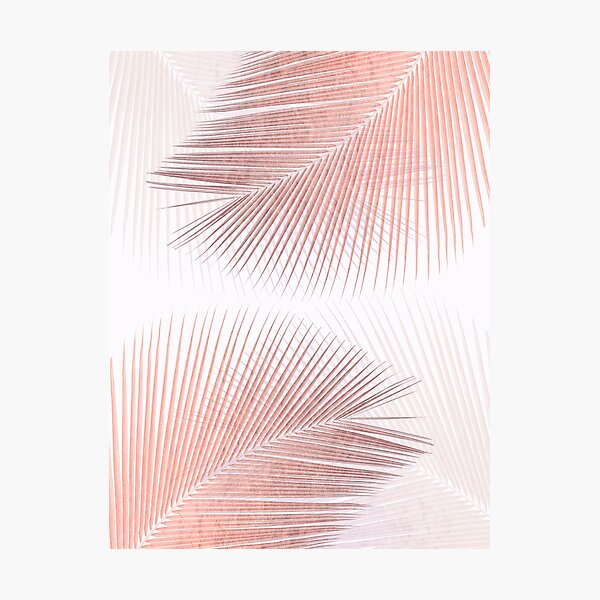 Palm leaf synchronicity - rose gold Photographic Print