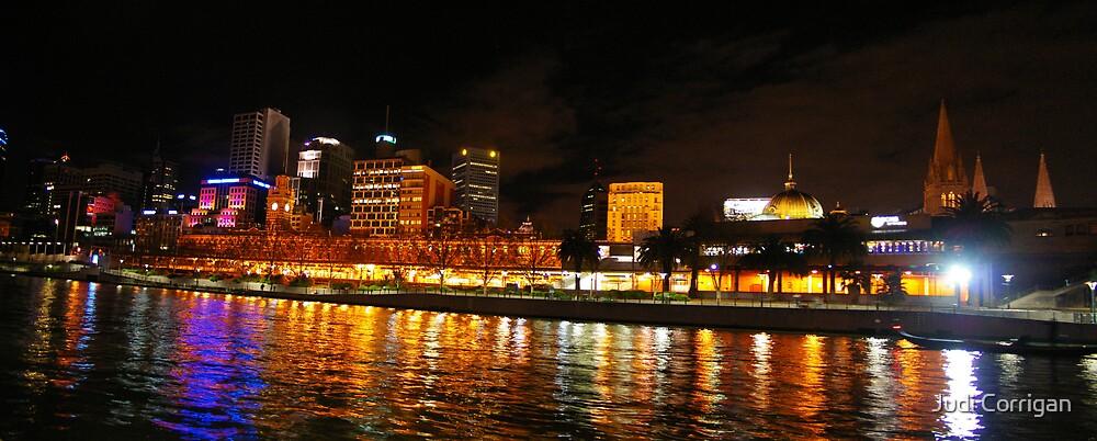 Flinders Street Station by night by Judi Corrigan