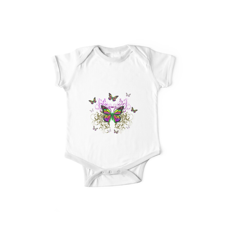 Bright Colorful Butterflies with Floral Swirls by Alondra