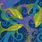 Golden Fishes, Pisces, underwater art, blue and  yellow by clipsocallipso