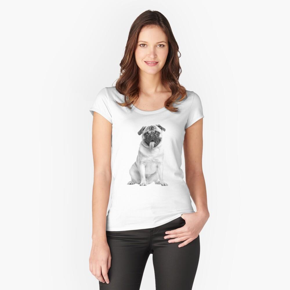 Mops 02 Tailliertes Rundhals-Shirt für Frauen Vorne