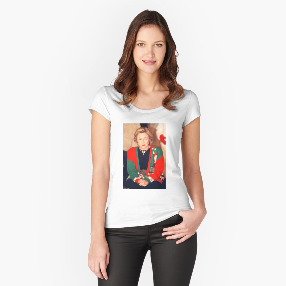 Jersey de Navidad de Hillary Clinton Camiseta entallada de cuello ancho