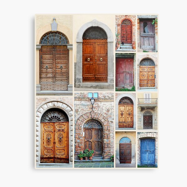 Italian Wooden Door Collage Metal Print
