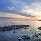 Sunset at Riomaggiore Harbour in Cinque Terre Italy by Steve Boyko