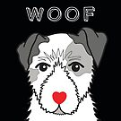 LOVEABLE JACK RUSSELL DOG DESIGN IN BLACK by Kat Pearson