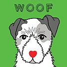 LOVEABLE JACK RUSSELL DOG DESIGN IN GREEN by Kat Pearson