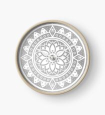 Silver & White Patterned Flower Mandala Clock