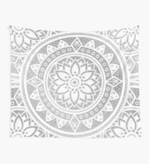 Silver & White Patterned Flower Mandala Wall Tapestry