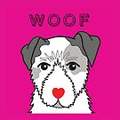 LOVEABLE JACK RUSSELL DOG DESIGN IN PINK by Kat Pearson