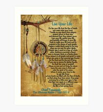 """""""Live Your Life"""",Chief Tecumseh watercolor effect Art Print"""