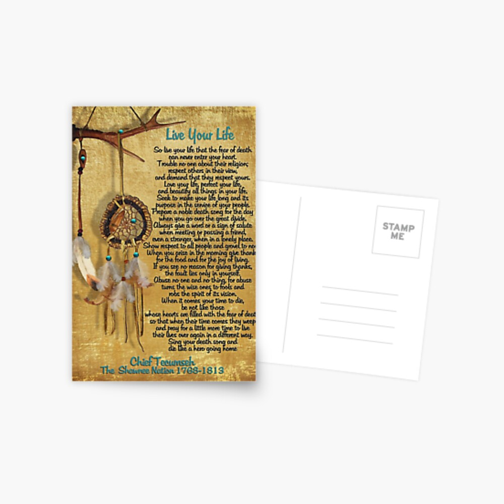 """Lebe dein Leben"", Chief Tecumseh Aquarell-Effekt Postkarte"