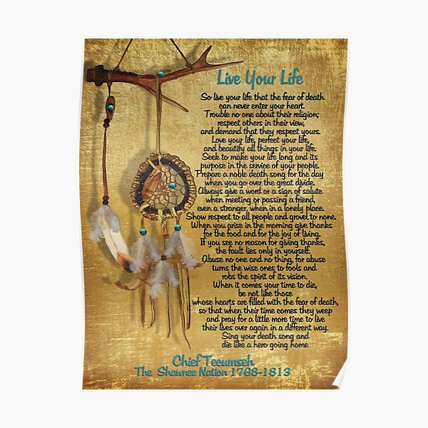 """""""Live Your Life"""",Chief Tecumseh watercolor dream catcher. Poster"""
