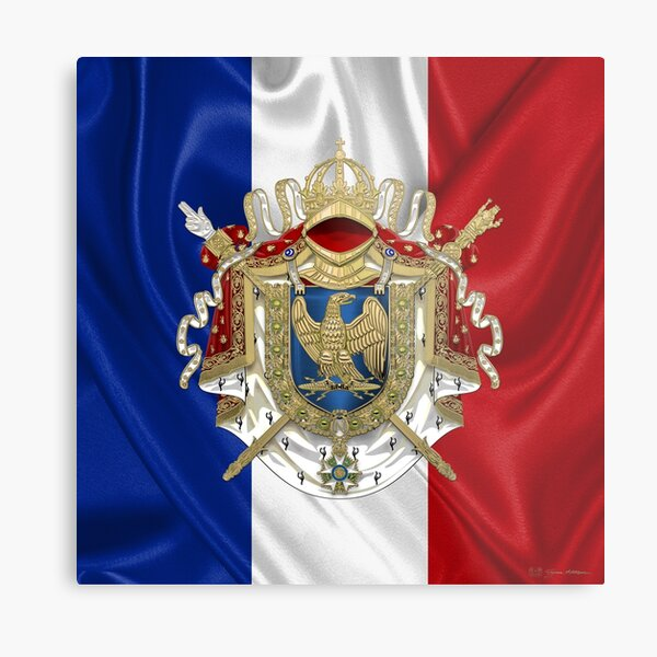 Greater Coat of Arms of the First French Empire over Flag of France Metal Print
