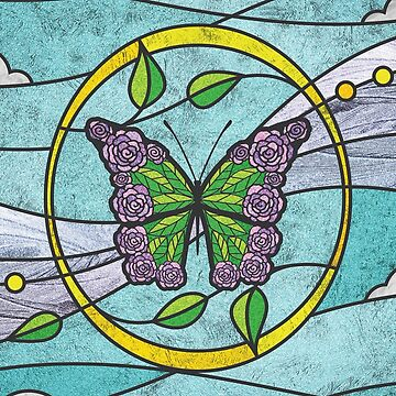 Butterfly Rose Faux Stained Glass by christymcnutt