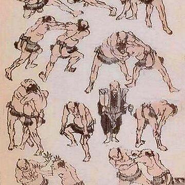 Hokusai, Manga, Jujitsu, Wrestling, Grappling, Sumo, MMA, Katsushika, Japan, Japanese by TOMSREDBUBBLE