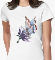 Watercolor Butterfly on Purple Thistle Flower Women's Fitted T-Shirt