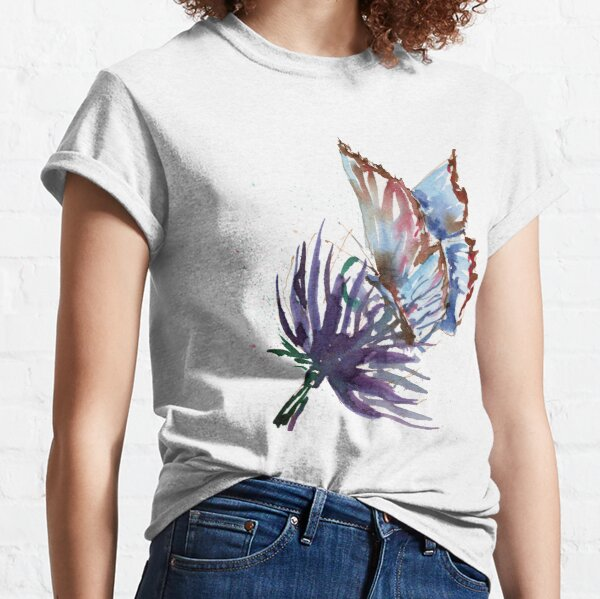 Watercolor Butterfly on Purple Thistle Flower Classic T-Shirt