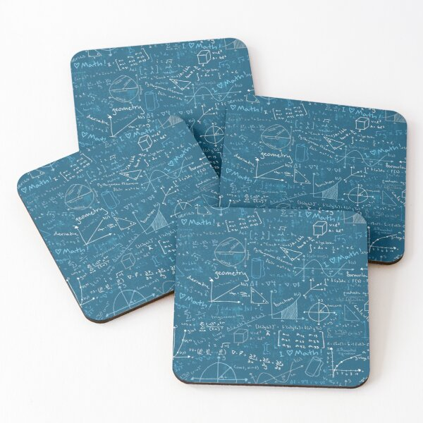 Math Lessons (Teal) Coasters (Set of 4)