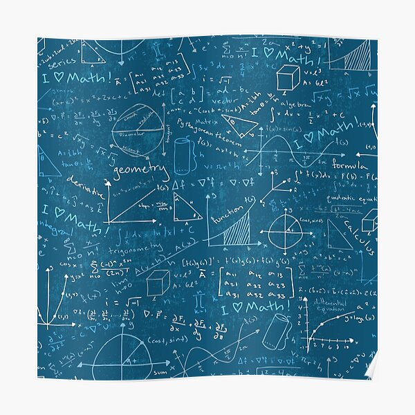 Math Lessons (Teal) Poster