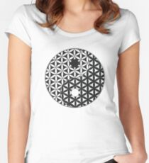 Flower of Life Space Time Yin Yang Women's Fitted Scoop T-Shirt