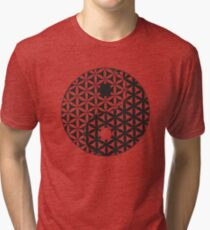 Flower of Life Space Time Yin Yang Tri-blend T-Shirt