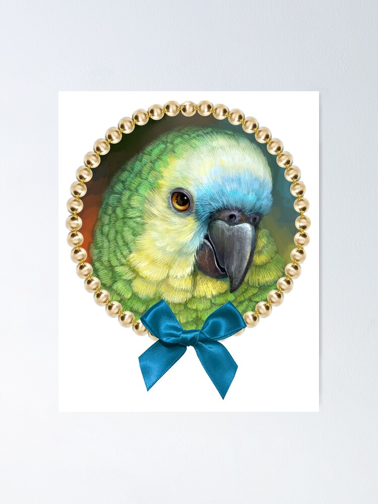 Blue Fronted Amazon Parrot Realistic Painting Poster By
