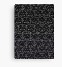 Dungeons and Dragons D20 repeating - Black  Canvas Print