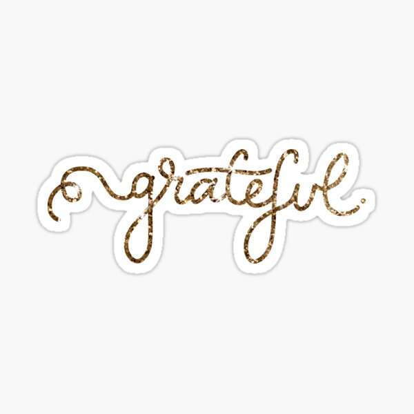 Grateful Calligraphy Script in Gold Sparkle Sticker