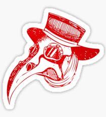 Plague Doc- Red Metal Sticker