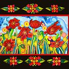 Red Poppies #3 with Mestizo Border Belize by caribbeancolors