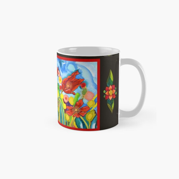 Red Poppies #3 with Mestizo Border Belize Classic Mug