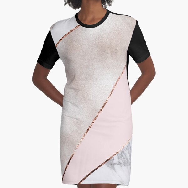 Spliced mixed rose gold marble Graphic T-Shirt Dress