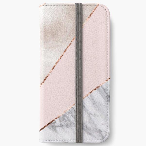 Gespleisst gemischter Roségoldmarmor iPhone Flip-Case