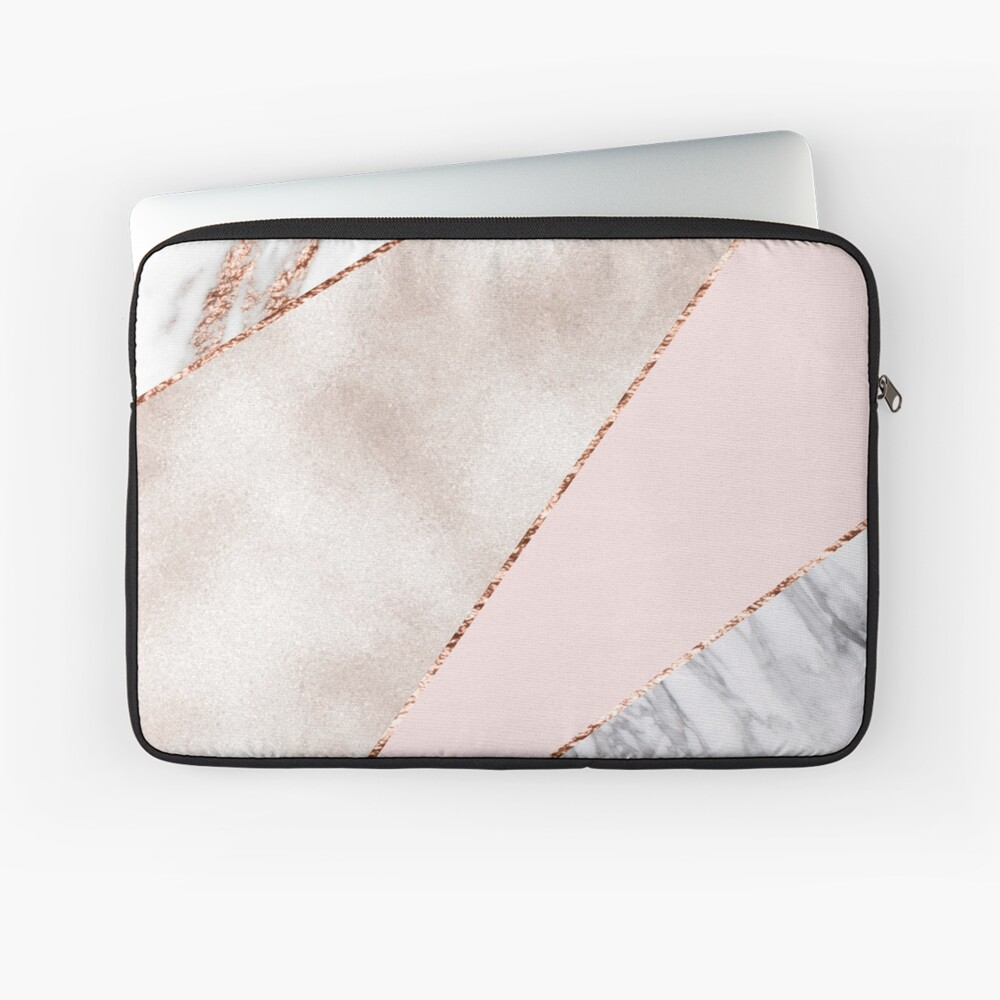 Spliced mixed rose gold marble Laptop Sleeve