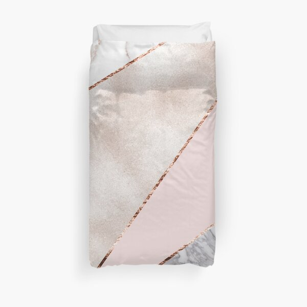Spliced mixed rose gold marble Duvet Cover