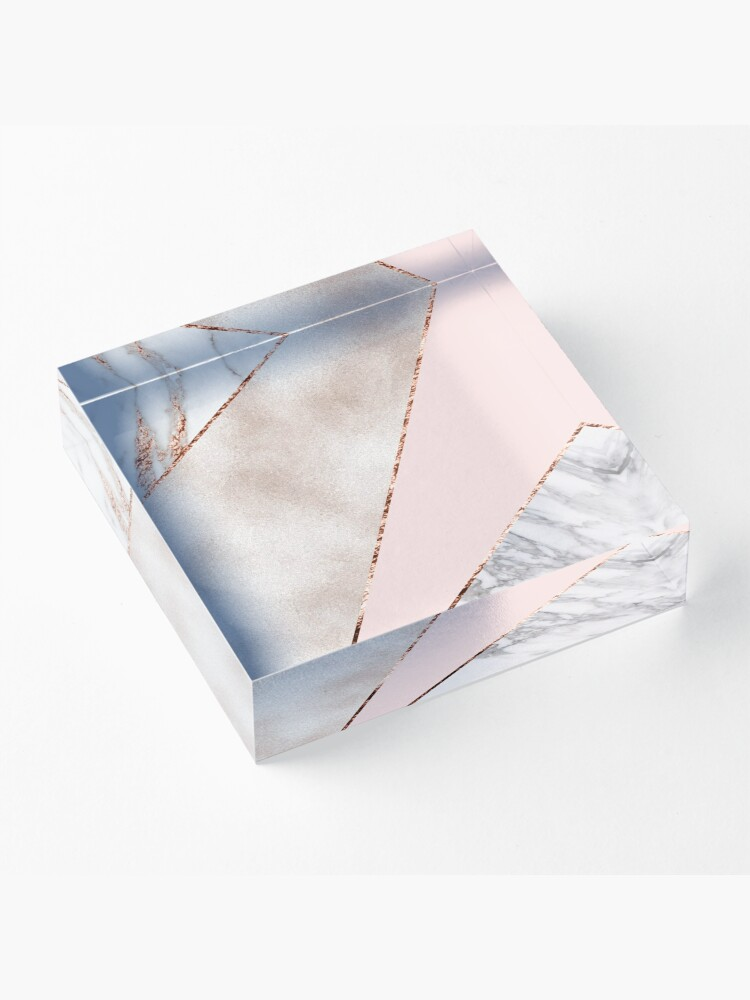 Alternate view of Spliced mixed rose gold marble Acrylic Block