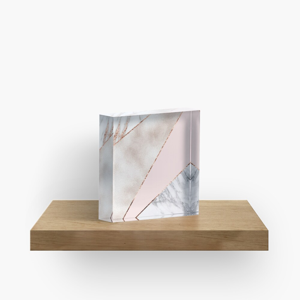 Spliced mixed rose gold marble Acrylic Block