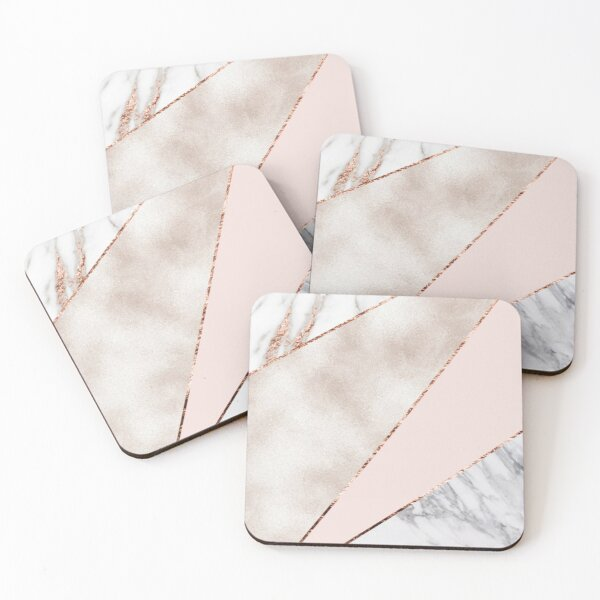 Spliced mixed rose gold marble Coasters (Set of 4)