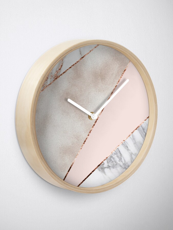 Alternate view of Spliced mixed rose gold marble Clock